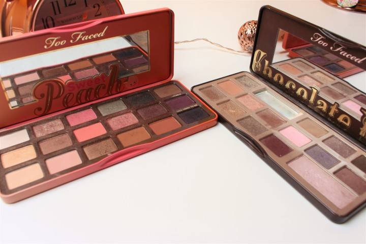 Too Faced 'Sweet Peach' and 'Chocolate Bar' palettes.